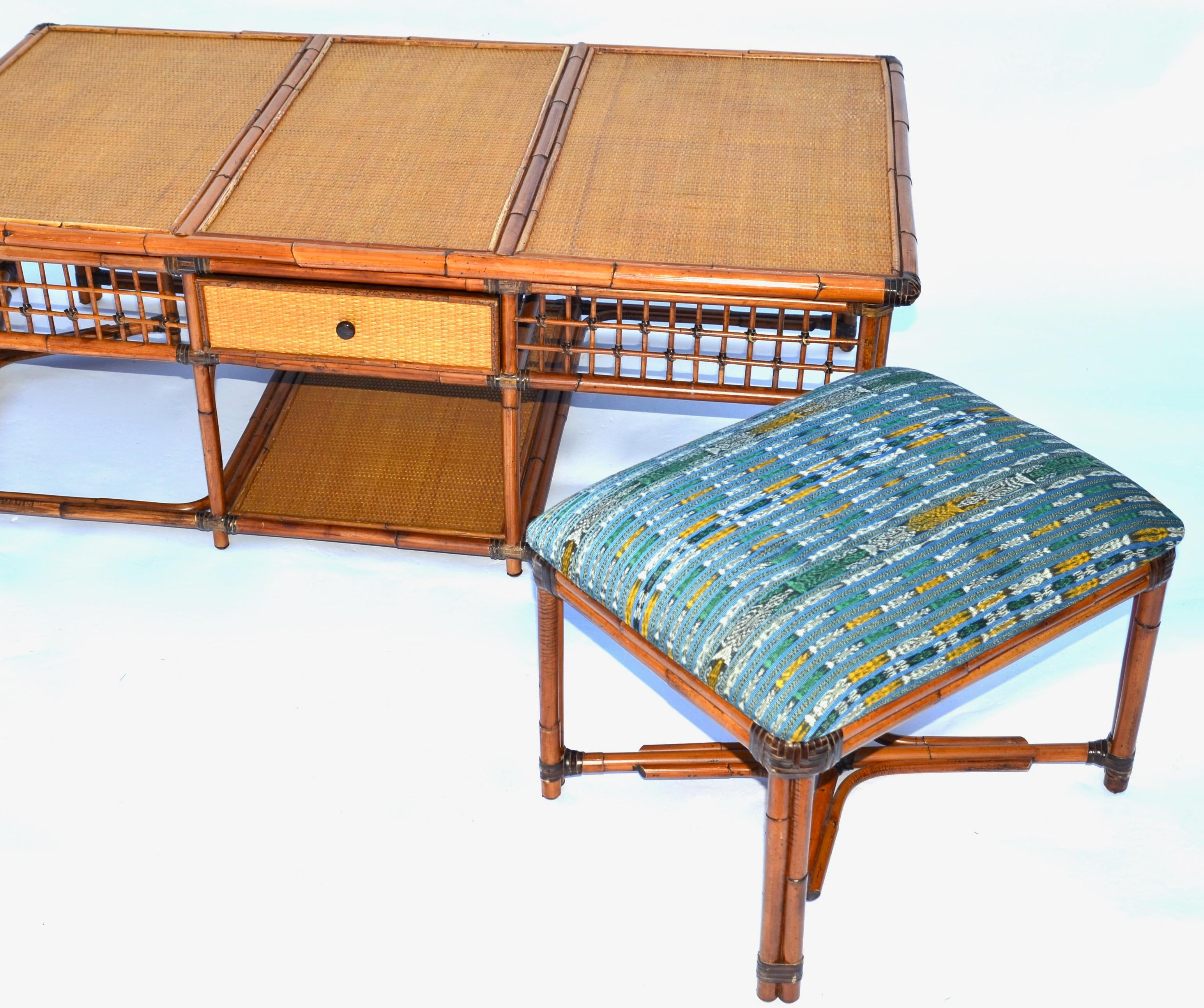 Delightful Vintage Palecek SF Rattan Bamboo Coffee Table With Hidden Stools   Image 5  Of 8