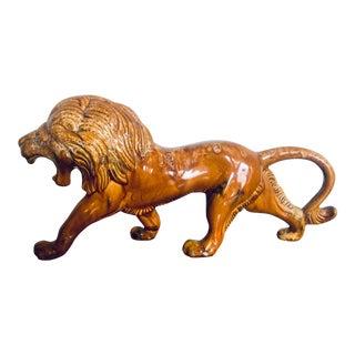 1960s Vintage Glazed Ceramic Lion Sculpture For Sale