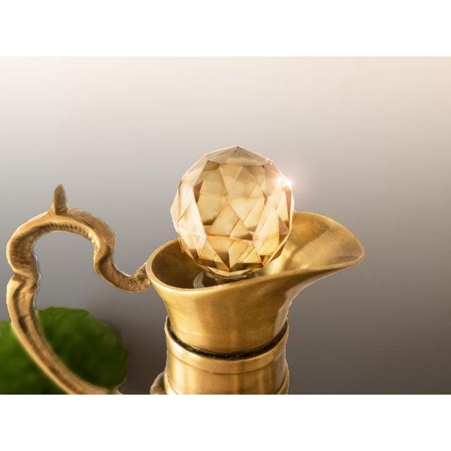 Art Deco Vintage Brass & Iridescent Amber Crystal Decanter Set For Sale - Image 3 of 8