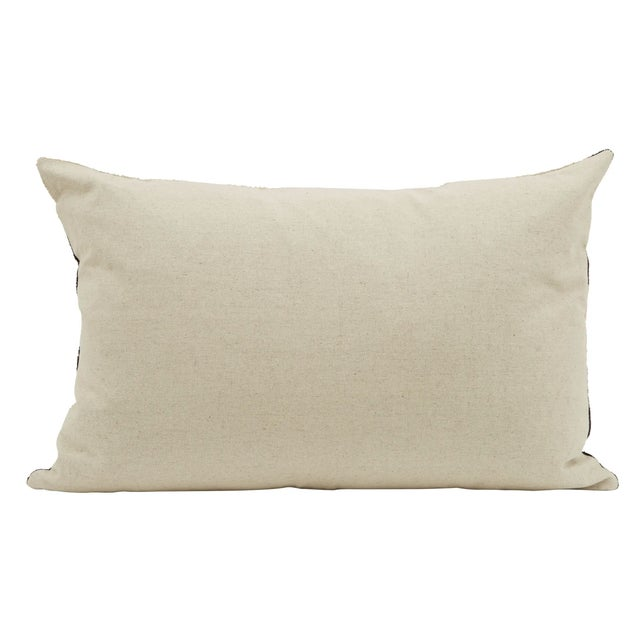 Egyptian Blue and Beige Silk Velvet Pillow with a solid Linen/Cotton fabric for the reverse A down feather insert is...