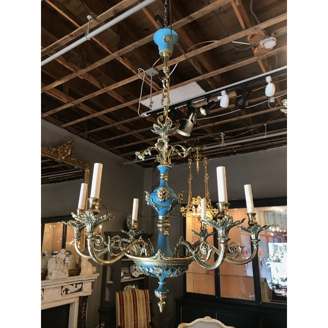 Neoclassical Russian Imperial Blue Bronze Chandeliers a Pair For Sale - Image 3 of 13