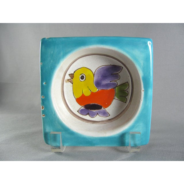 1960s DeSimone Hand Painted Bird Wine Bottle Coaster For Sale - Image 12 of 12