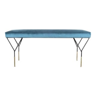 Italian Petrol Velvet Brass Bench Refurbished, Italy 1950 For Sale