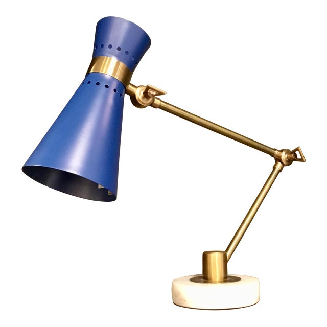 Bungalow 5 Modern Blue and Brass Clipper Table Lamp For Sale
