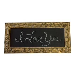 Vintage Gold Gilt Trim Framed Black Board For Sale