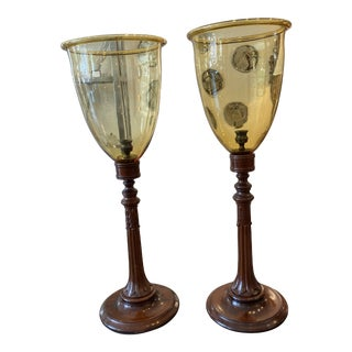 John Rosselli William IV Style Mahogany and Amber Glass Hurricanes For Sale