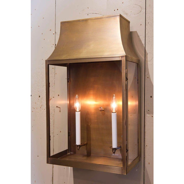 Custom design by Far-Fetched LLC Made in the USA of solid brass UL Listed for Wet Locations 2 Candelabra sockets May be...
