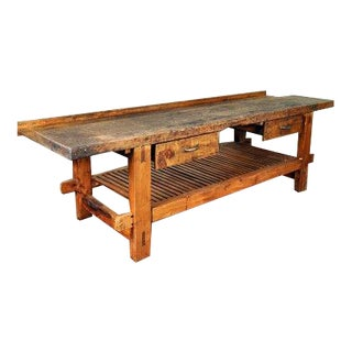 Antique French Reclaimed Wood Workers Bench Table
