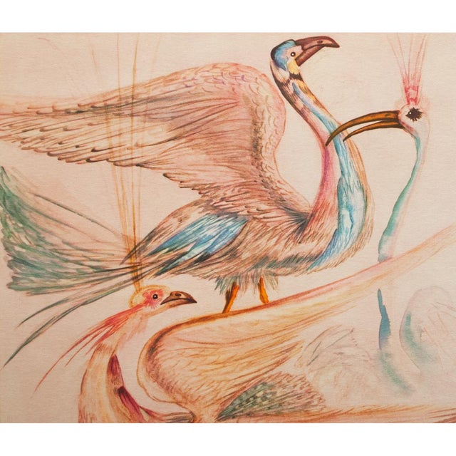 """Salvador Dalí 1952 Dali, Original Period """"Birds"""" Lithograph From the Mrs. Albert D. Lasker Collection For Sale - Image 4 of 10"""