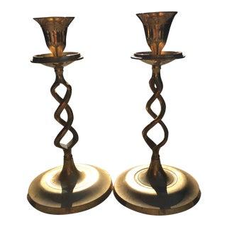 Vintage Brass Spiral Candlesticks - A Pair For Sale