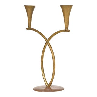 Richard Rohac Brass Candleholder, Austria, 1950s For Sale