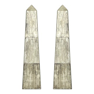 Mirrored Obelisks With Etched Floral Design - a Pair For Sale
