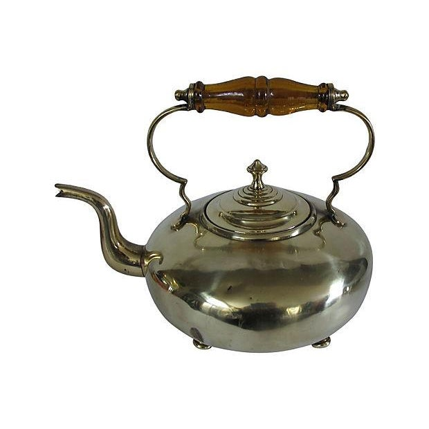 Antique Glass Handle English Brass Tea Kettle - Image 1 of 3