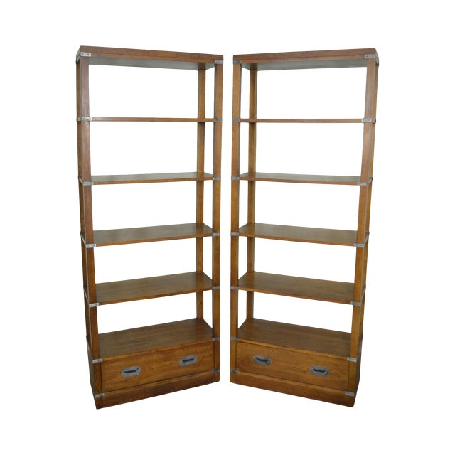 20745f9a430c Bernhardt Campaign Style Open Bookcases Etageres - A Pair For Sale