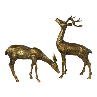 Large Brass Deer - a Pair For Sale