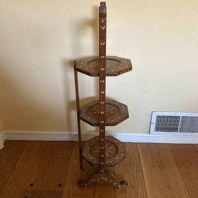 Wood Anglo Indian Bone Inlaid Cake Stand For Sale - Image 7 of 13