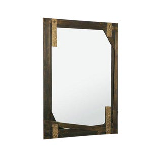 Slate II Aged Brass Mirror by Christine Rouviere For Sale