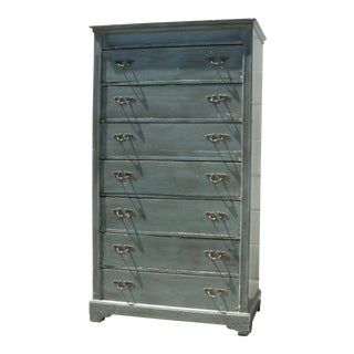 Early 20th Century Vintage Shabby Chic High Chest of Drawers Dresser