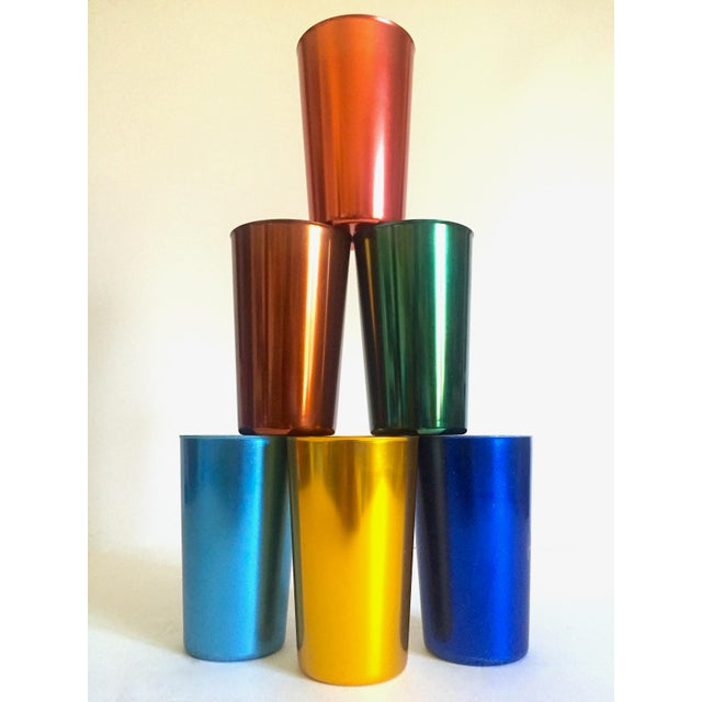 Mid 20th Century Vintage Mid Century Modern Italy Anodized Spun Aluminum Multicolor Tumbler Cups - Set of 6 For Sale - Image 5 of 13