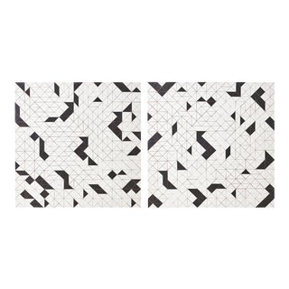 Abstract Black and White Wood Panels by Michelle Peterson Albandoz - a Pair For Sale