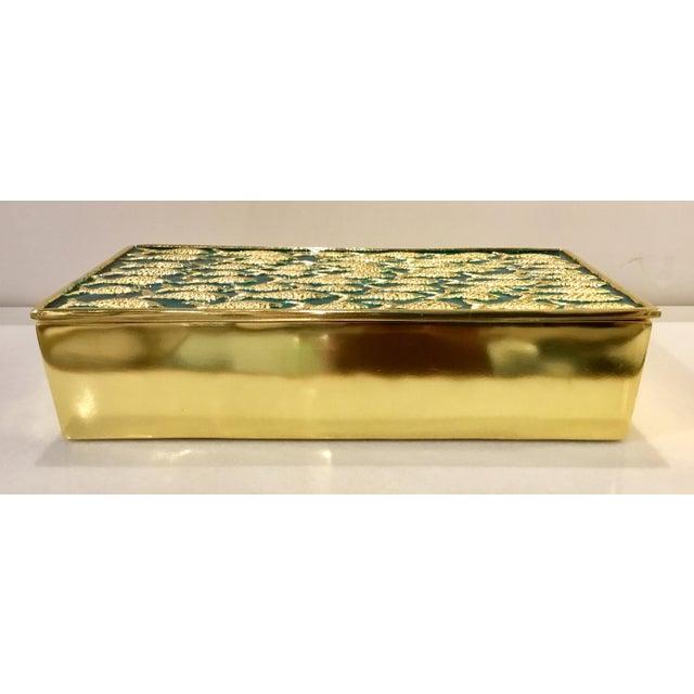 Elegant Modern Gold Fish on Turquoise Metal Sea Box , showroom floor sample