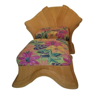 """Vintage Betty Cobonpue """"Sculptura"""" Pencil Reed Club Chair and Ottoman For Sale"""