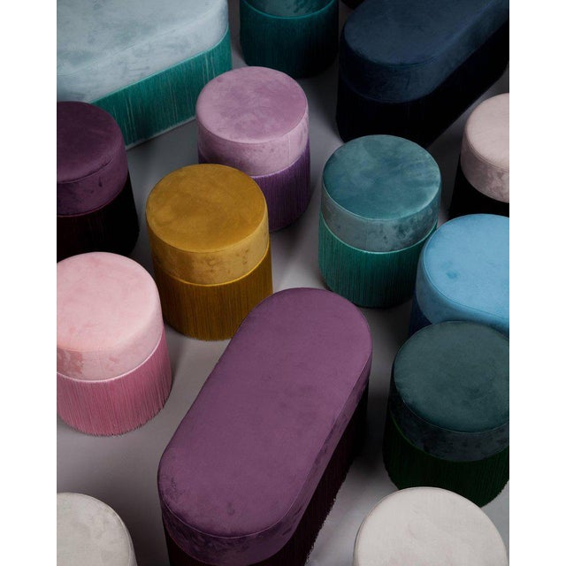 2010s Pouf Pill Large Light Blue in Velvet Upholstery With Fringes For Sale - Image 5 of 6