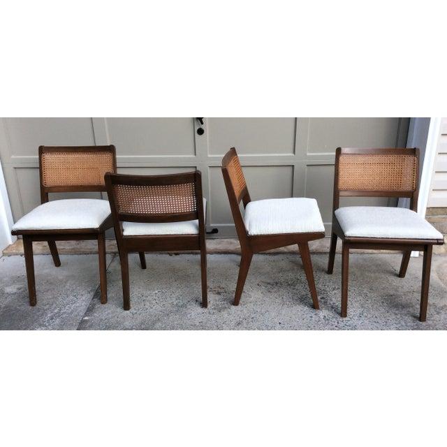 Mid-Century Walnut & Rattan Dining Chairs - Set of 4 - Image 2 of 10