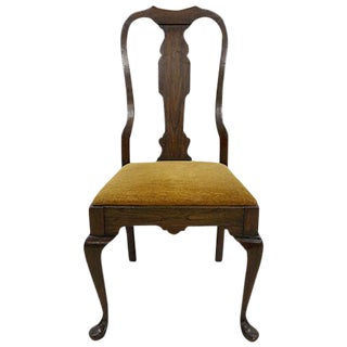 Walnut Veneer Wood Mustard Velvet Side Chair