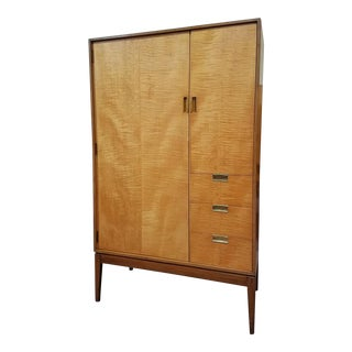 Mid Century Modern Curly Maple Highboy Armoire c.1960