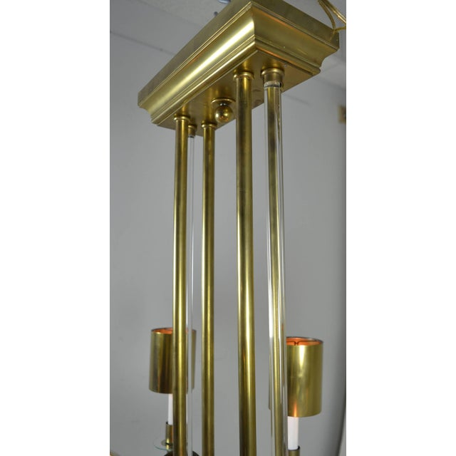 Gold Large Art Deco Style Modernist Chandelier For Sale - Image 8 of 11