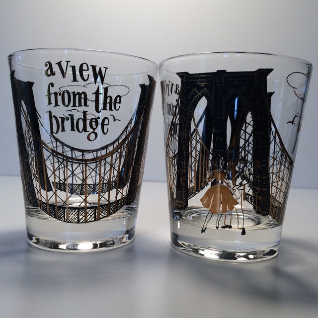 "2 - Hollywood Regency Lo-Ball Glasses ""A View From the Bridge"" - Image 2 of 10"