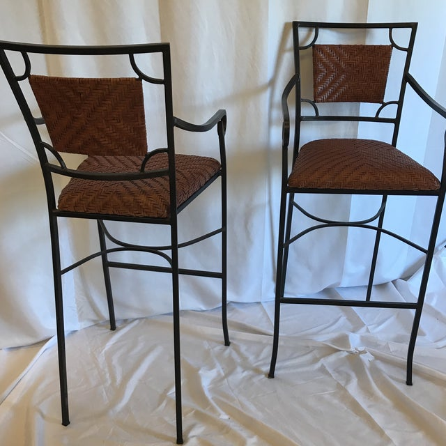 Black Iron and Woven Leather Bar Stools - a Pair For Sale - Image 8 of 12