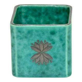 Teal & Sterling Gustavsberg Argenta Cube Vessel For Sale