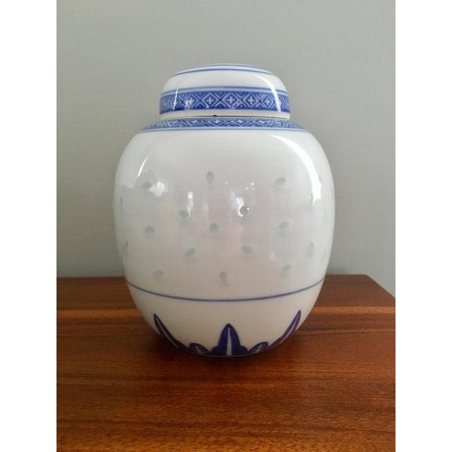 """Ceramic Vintage Blue & White """"Rice Flower"""" Pattern Ginger Jar For Sale - Image 7 of 8"""