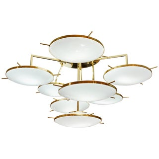 Italian Contemporary Multi Level Brass and White Murano Glass Disk Chandelier For Sale