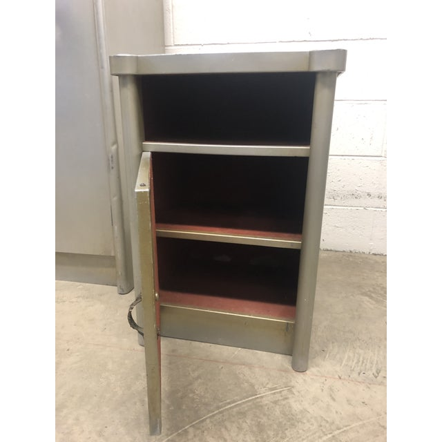 Mid 20th Century 20th Century Art Deco Aluminum Nightstand and Highboy - 2 Pieces For Sale - Image 5 of 8