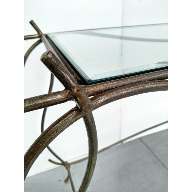 Wrought Iron and Glass Console Table, Vintage For Sale - Image 9 of 13