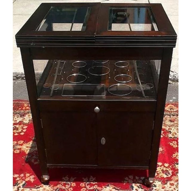 Traditional Vintage Bar Cart With Pop Up Center and Beveled Glass For Sale - Image 3 of 11