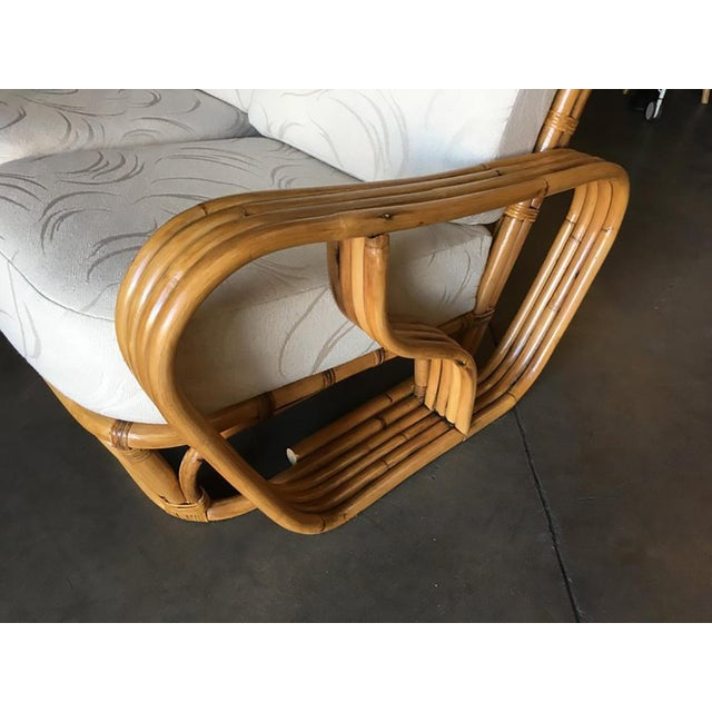 """Bamboo Rare Paul Frankl Style Square Pretzel """"S"""" Arm Rattan Sofa W/ 2 Tier Table For Sale - Image 7 of 8"""