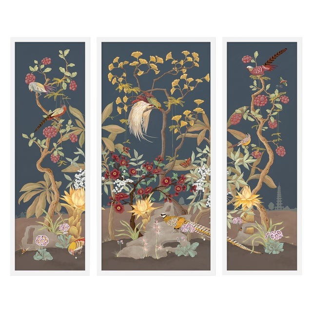 """Medium """"Forest and Pheasants, 3 Panels"""" Print by Allison Cosmos, 35"""" X 30"""" For Sale"""