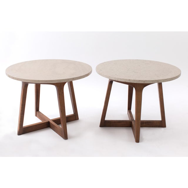Cubism 1960s Danish Modern Marble and Walnut End Tables - a Pair For Sale - Image 3 of 9