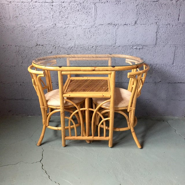 Boho Chic Vintage 1980s Bamboo Dining Set For Sale - Image 3 of 11