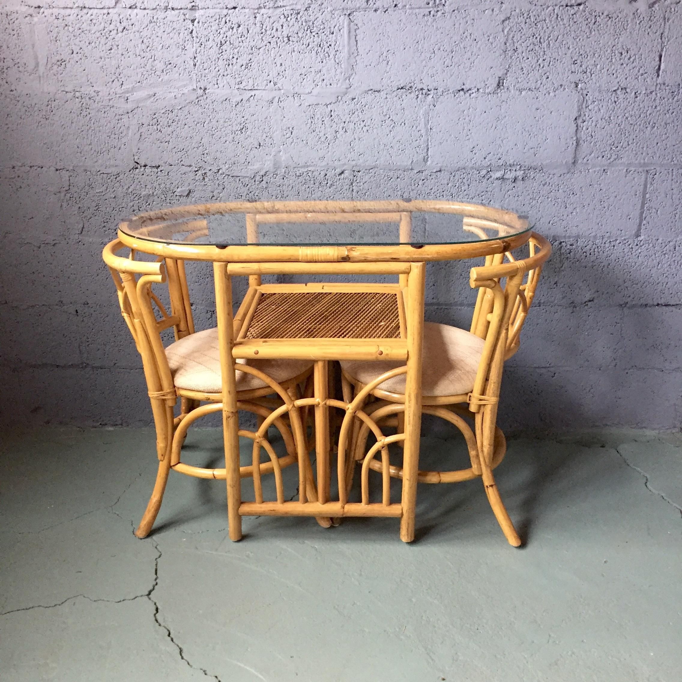 Vintage 1980s Bamboo Dining Set   Image 3 Of 11