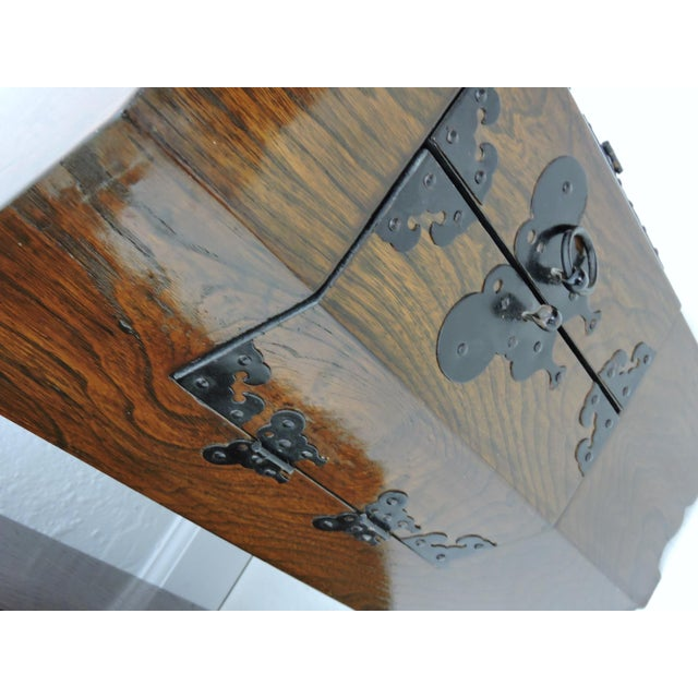 "Brown Pair of Vintage Chinese ""Calligraphy"" Wood Cabinets, Nightstands, Side Tables, Pedestals For Sale - Image 8 of 8"
