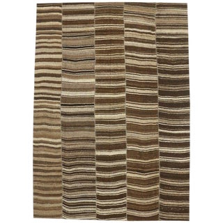 Vintage Turkish Kilim Striped Rug With Modern Style, 10'01 X 14'02 For Sale