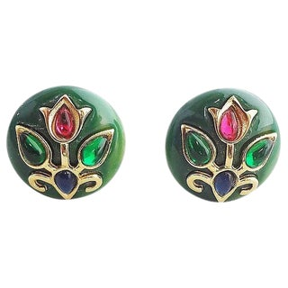 1960s Trifari Green Lucite Rhinestone Cabochon Earrings For Sale