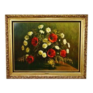 Vintage Framed Hoffman Floral Still Life Print on Board - Large For Sale