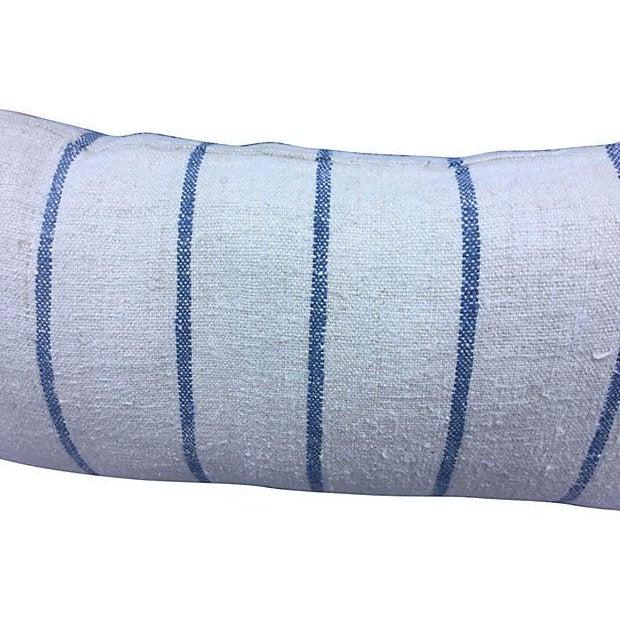 French Indigo Grain Sack Pillows- Set of 3 - Image 3 of 5