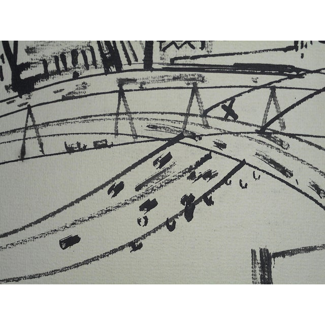 """1950s Original Modernist Drawing by American Artist-Robert Knipschild-""""JerseyTurnpike""""-Signed/Dated """"1954"""" For Sale - Image 5 of 7"""